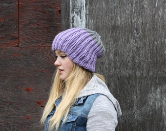 Oversized Fold Over Winter Hat . Slouchy Hand Knit Beanie . Wool Free Hat  {  Lavendar & Grey Heather  }