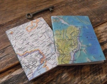 Small Map Notebooks Pocket Notebook Vintage Map Notebook Set of Two Notebooks Travel Journal