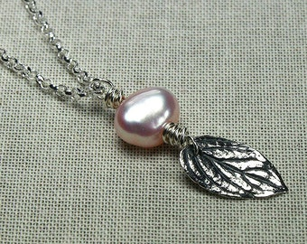 Pearl necklace, freshwater pearl necklace, pink pearl, leaf necklace, silver leaf, one of a kind gift, pearl jewelry, pink pearl necklace