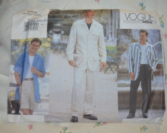 Vogue 2103  Mens Jacket Shorts and Pants Sewing Pattern - UNCUT - Sizes 38 40 42