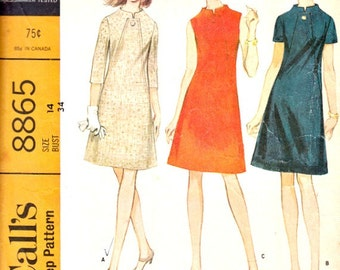 1960's Aline Dress Vintage Sewing Pattern High Rise Neckline Front Seam Panel Detail McCall's 8865 Pattern Complete