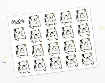 Bulldog stickers, Hand Drawn Dog Stickers, Dog planner stickers, Bulldogs, stickers, Pet planner stickers, Pet Stickers, Bulldog art