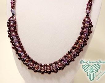 Beaded Necklace, Amethyst Luster Purple Right Angle Weave Free Domestic Shipping