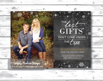 christmas card, pregnancy announcement, chalkboard, expecting, christmas pregnancy announcement, the best gifts, PRINTABLE or PRINTED CARDS