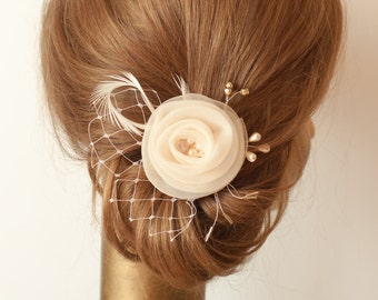 Unique Champagne Flower,  delicate Silk Organza with Ivory Veil, BRIDAL FLOWER Hair Accessory
