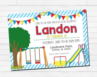 Playground Birthday Invitation   Park Birthday Invitation   Slide Birthday Party   Swing Set Birthday   Custom Digital Printable Invitation