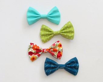 Cotton hair bow clip • teal green polka dot red floral constellations