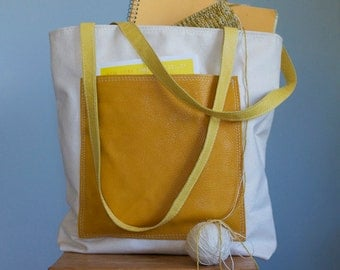 Canvas and Yellow Leather Tote Bag