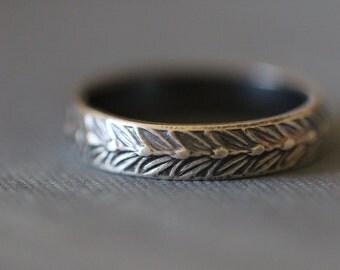 SARA: Sterling Silver Ring, Wheat, Botanical, Band Stacking Ring, 5mm Wide, Modern, Minimal, Rustic, Bohemian,  Made To Order