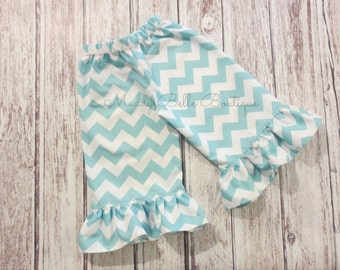 Cute Aqua Chevron Ruffle Pants or Capris - Ruffle Pants, Ruffle Capris, Chevron Pants, Chevron Capris, Aqua, Girls Ruffle Pants