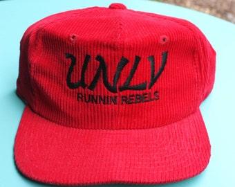 Vintage 1980s Corduroy UNLV Running Rebels College snapback Hat