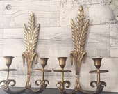 Brass Wall Sconces Pair - Vintage Brass Wall Sconce - Brass Wheat Sheaf Decor - Tapered Candle Holders Sconces - Vintage Tarnished Brass