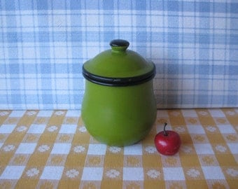 Enamel Sugar Bowl - Enamelware Jar - Asahi Japan - Mod - Vintage 1960's