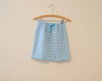 Blue, White, and Pink Butterfly Print Mini-Skirt -  1980s