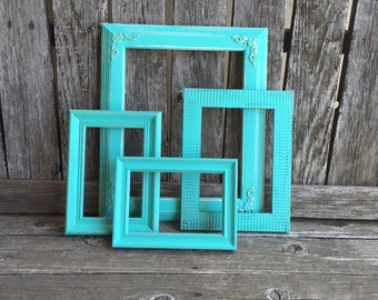 Turquoise picture frames, Set of 4  Vintage Frames, Shabby Chic, Distressed frames, wall gallery (Los Angeles)