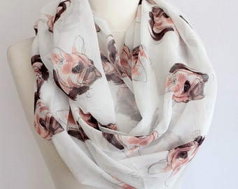 French Bulldog Pattern Scarf White Infinity Scarf Dog Pet Accessories Unique Animal Gift Ideas For Her Girlfriend Mother Birthday Gift Shawl