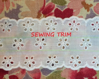 3-3/4 YARDS, WHITE Cotton, Double Ruffle Insertion Sewing Trim, Gather Stitched, 5 Eyelet Floral Band, Scallops, 2-1/2 Inch Wide, L137