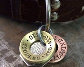 """Hand Stamped Dog Tags - Made to Order - 1-1/4"""" Brushed Brass Concave"""