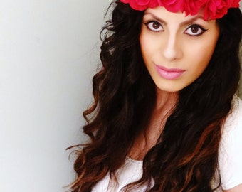 GORGEOUS Flower Crown, Red Rose Crown, Boho Flower Crown, Floral Crown