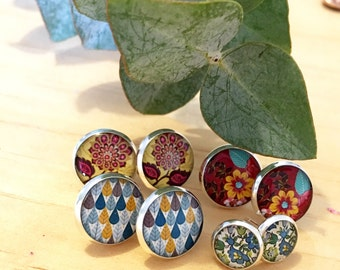 Choice of Autumn Resin Post Silver Earrings