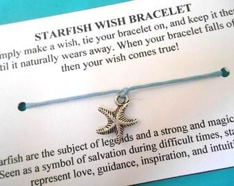 Starfish Wish Bracelet - Wish Bracelet - Starfish Bracelet - Party Favor - Wishing Bracelet - Beach Wedding - Bridesmaid Gift