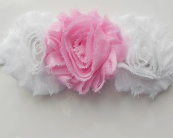 READY to SHIP - Shabby Chic Pink and White Triple Flower Headband