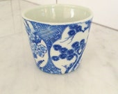 Blue White Cup, Vintage Sake Cup, Chinoiserie Decor, Small Planter, Blue White Votive Holder, Blue White Asian Decor