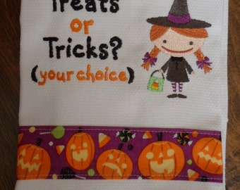 Kitchen Tea Towel Dish Towel Embroidered LITTLE HALLOWEEN WITCH Design with Decorative Trim