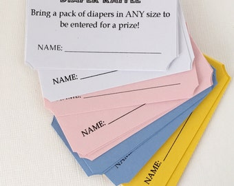 Diaper Raffle Ticket, Diaper Party, Baby Shower Games, Diaper Games, Diaper Tickets Set of 20