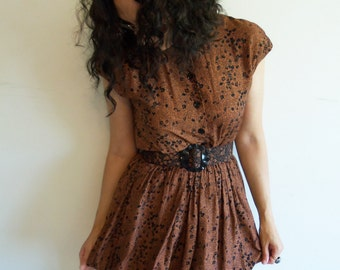 Fun 80s 90s Brown and Black Floral Bubble Dress