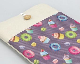 Cute Laptop Sleeve, Laptop case, Laptop Cover, Custom, Lenovo case, Dell laptop sleeve, Carbon X1 case, front pocket, donuts, cupcakes