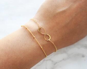 Gold Infinity Bracelet, Friendship Bracelet, Infinity Charm, Forever, Always, Infinity Bracelet Sister, Gold or Silver, Gold Filled Jewelry