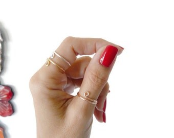 Set of 3 Adjustable Rings//Sterling Silver// Gold Filled//Rose Gold Filled// Summer Jewelry//Women Rings
