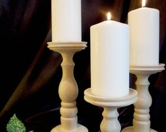 Set of Three Taller Unfinished Candle Holders, Lathe-turned and Made in USA