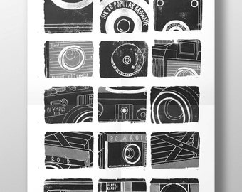 Film Camera Print // Camera Print // Vintage Cameras // Camera Wall Art // Camera Illustrations // Camera A1 Poster