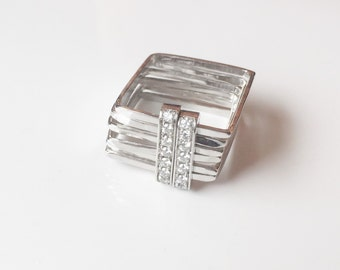 Wide SQUARE WEDDING RING set -18K White gold and diamonds pave Square ring - Unique wedding ring