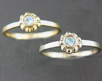 Rainbow Moonstone Gold Ring 14k Yellow Pink White Gold Ring Made in Your Size Moonstone Gold Ring June Birthstone