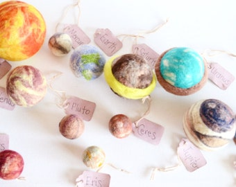 Set of 12. The Sun & 11 Planets. Waldorf Learning. Science, Montessori, The Solar System. Handmade art toys. Wool toys, outer space.