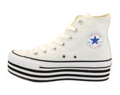 white PLATFORM Converse All Stars   High Top Canvas Sneakers   10 womens