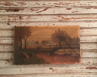 Antique Folk Art landscape