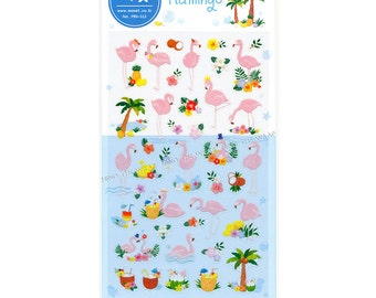 Flamingo Stickers - Tropical Island Paradise -  Palm Trees Pineapple Coconut Hibiscus Cocktails - Clear Planner Stickers