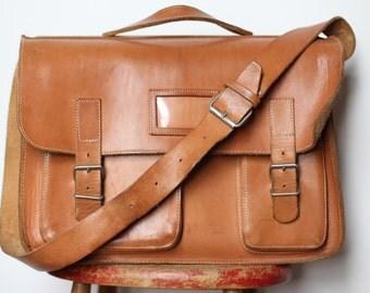 Large Vintage Leather Shoulder Bag - Messenger Laptop Bag or School Satchel