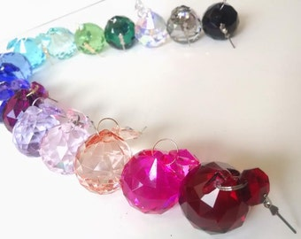 16 Chandelier Crystal Balls 30mm Assorted Colors Shabby Chic