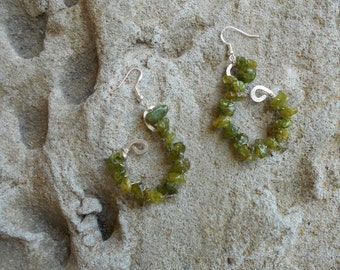 Peridot hammered sterling silver earrings