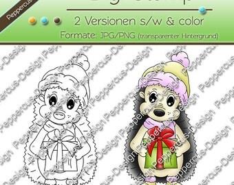 Digi stamp set - Hedgehog with gift / E0081