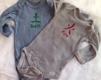 Fire and Earth long-sleeve onesies