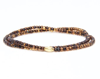 Beaded Bracelet in 18K Solid Yellow Gold - Beach Boho Stretch Cord - Czech Glass Beads Brown Topaz Coloured - Men Women Unisex Gift Him Her