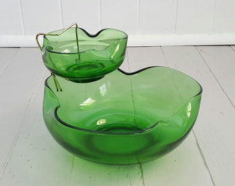 1960's Chip n dip Glass Bowls Anchor Hocking