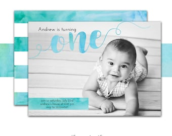 Watercolor Invitation, First Birthday Boy Invitation, Blue, Turquoise, Green, Watercolors, Photo Birthday Invite,  Printed or Printable