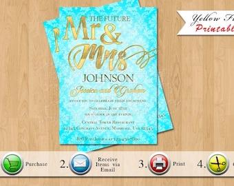 Engagement Invitation  | Damask, Gold |  You Print